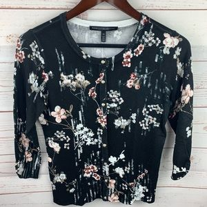 WHBM   Under the Spell Black Floral Cardigan